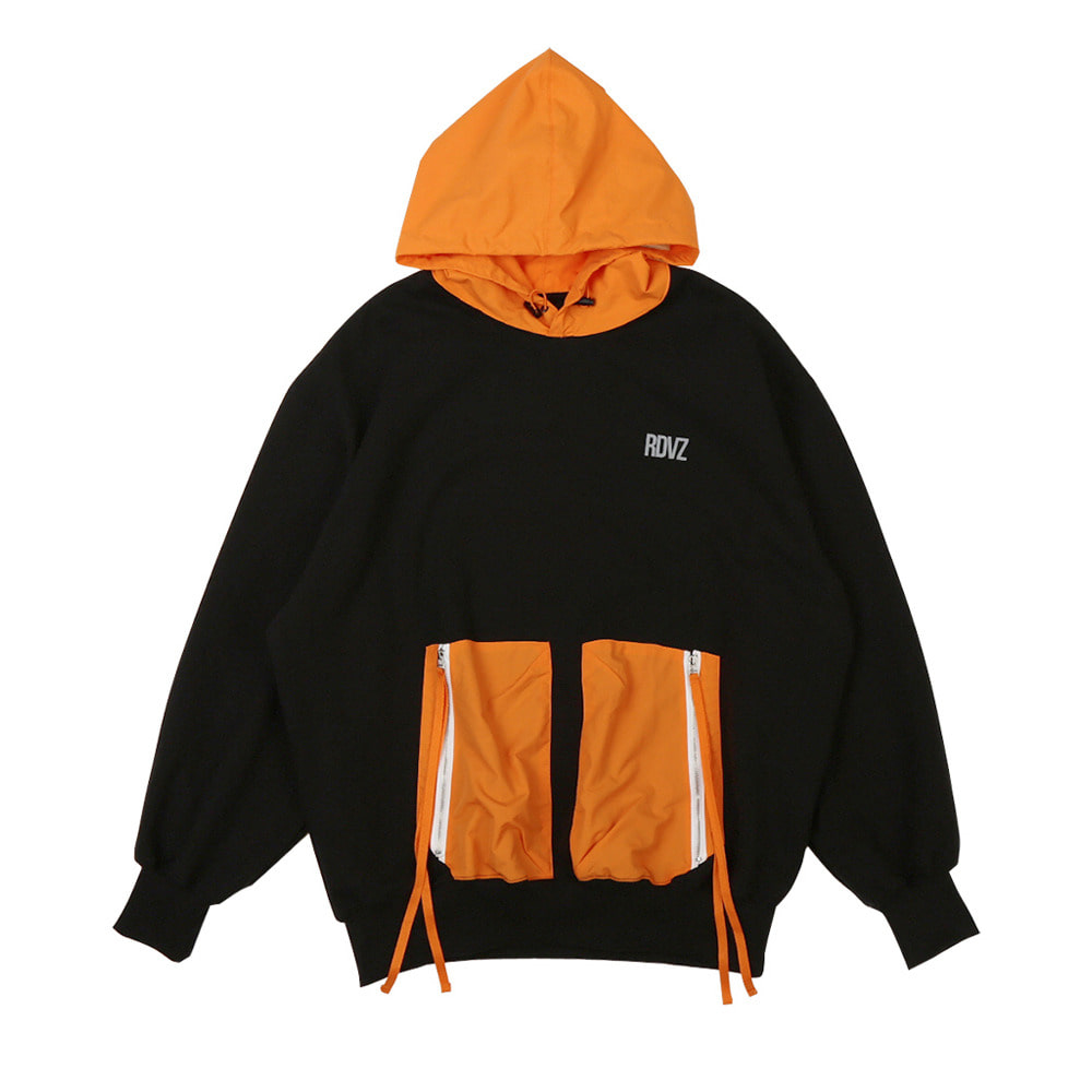 랑데부 DOUBLE POCKET HOODIE BLACK