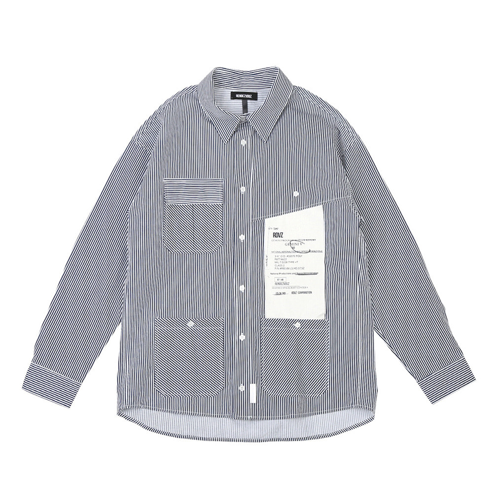 랑데부 BIG LABEL POCKET SHIRTS NAVY