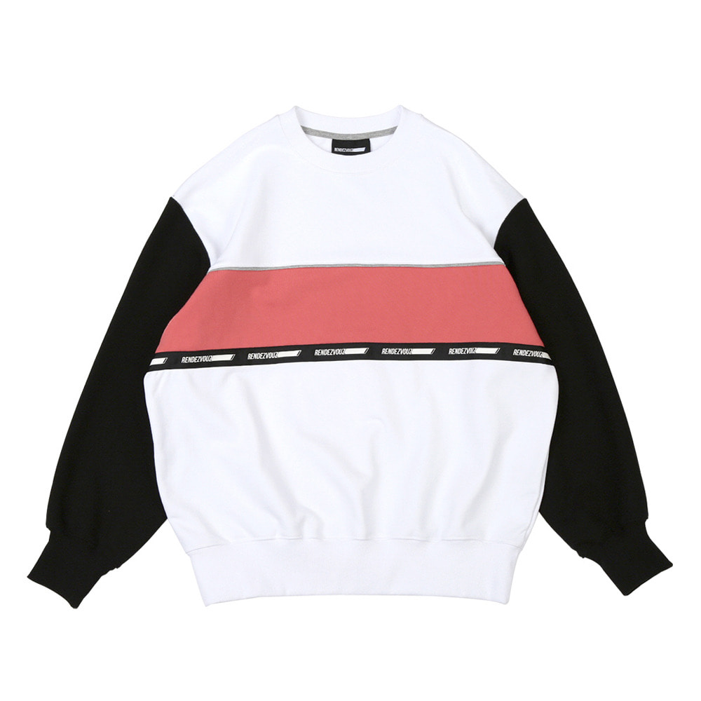 랑데부 COLOR BLOCK SWEAT TOP WHITE