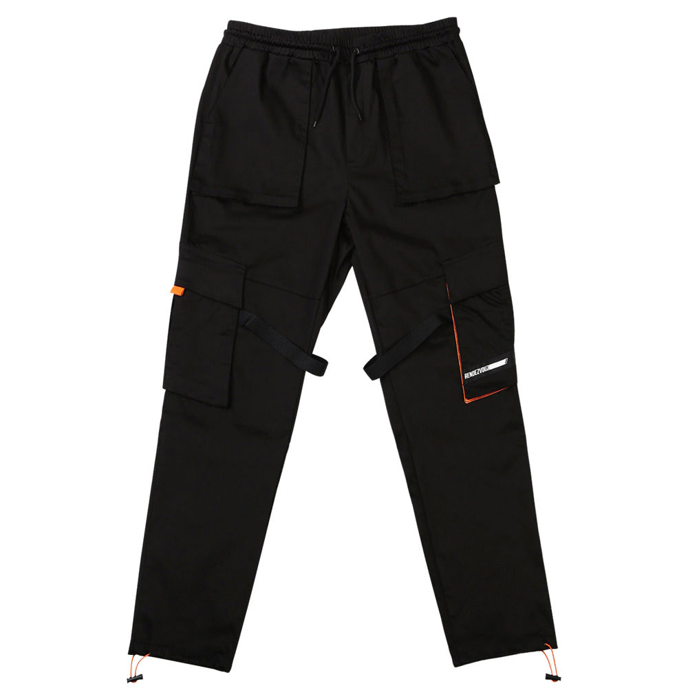 랑데부 DIAGONAL POCKET CARGO PANTS BLACK