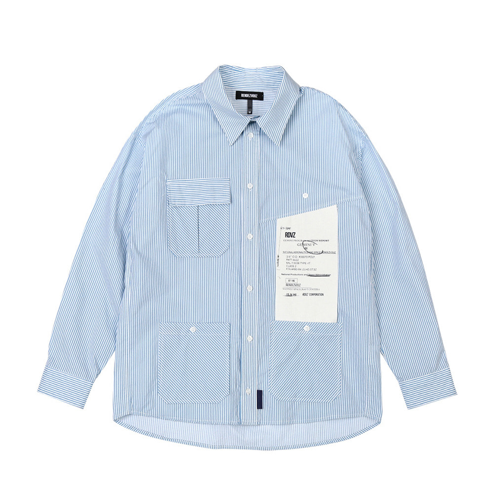 랑데부 BIG LABEL POCKET SHIRTS SKYBLUE
