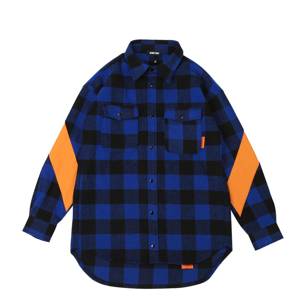 랑데부 DIAGONAL SLEEVE SHIRTS JACKET BLUE