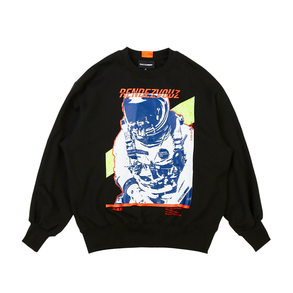 랑데부 SPACE MAN SWEAT TOP BLACK