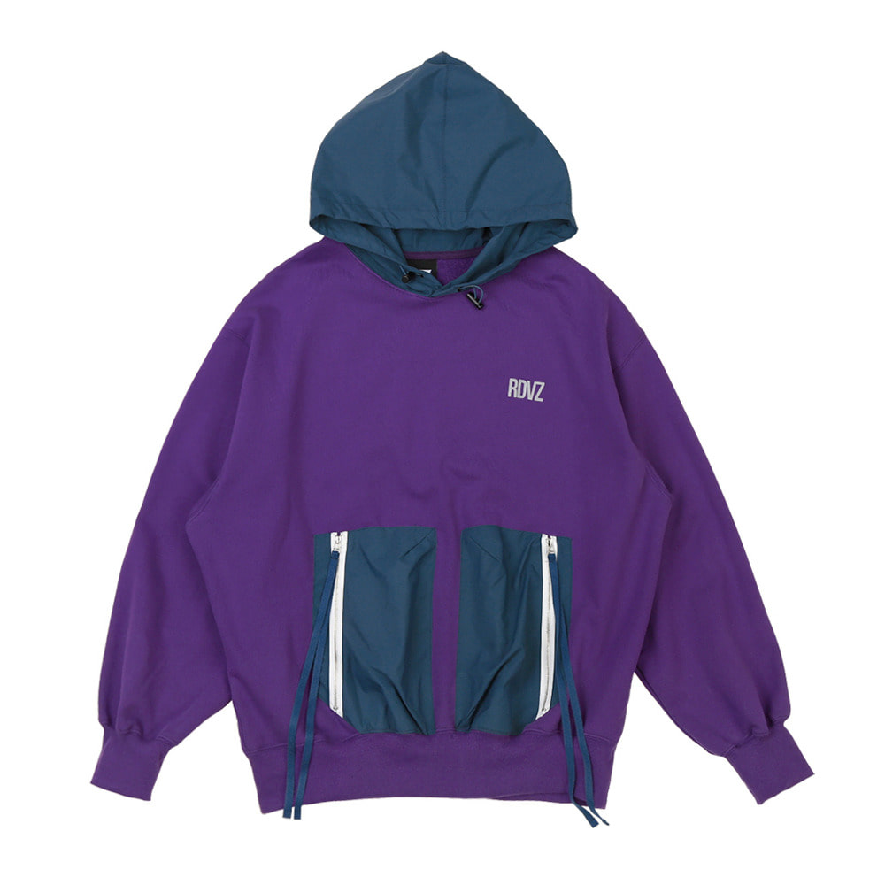 랑데부 DOUBLE POCKET HOODIE PURPLE