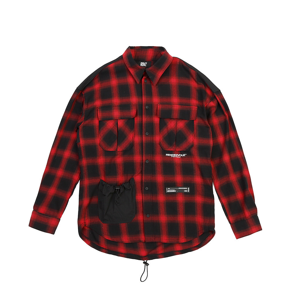 랑데부 STRING POCKET CHECK SHIRTS RED