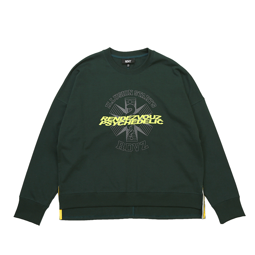 랑데부 GRAPHIC LOGO CREWNECK LONG SLEEVE GREEN