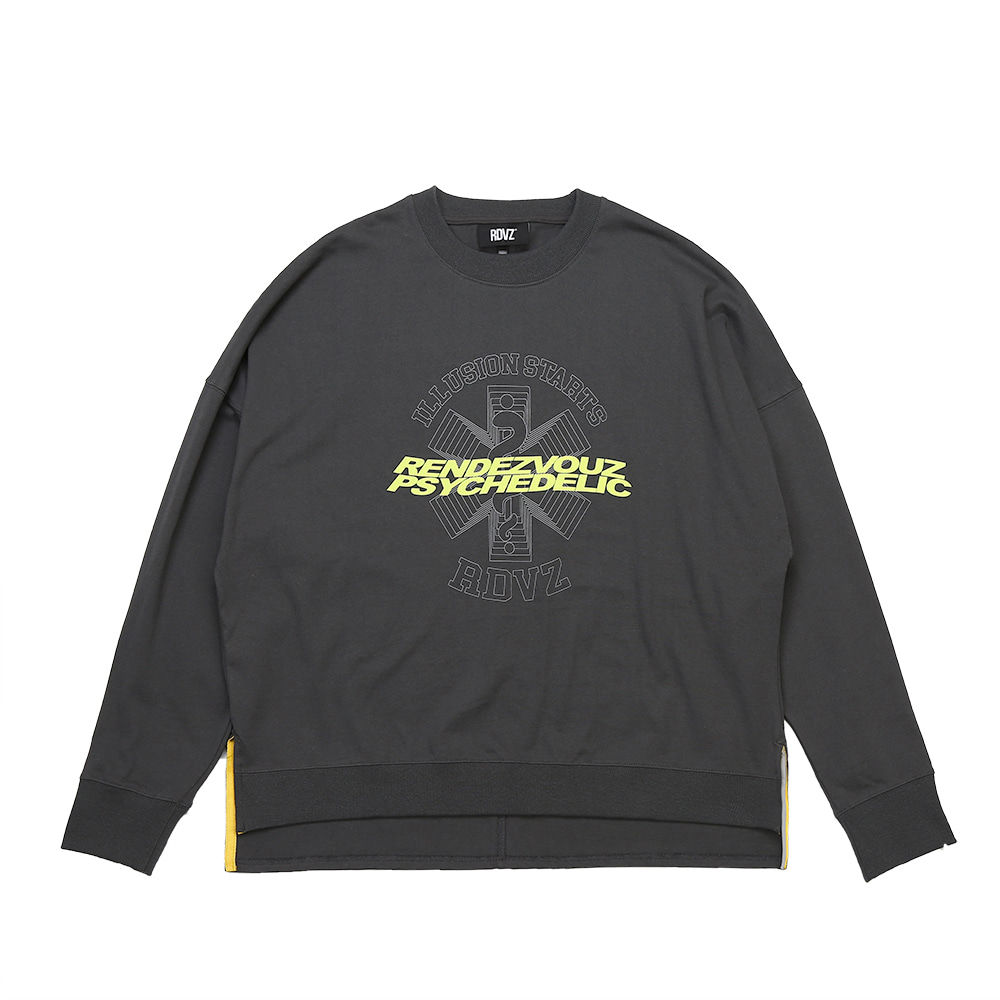 랑데부 GRAPHIC LOGO CREWNECK LONG SLEEVE CHARCOAL