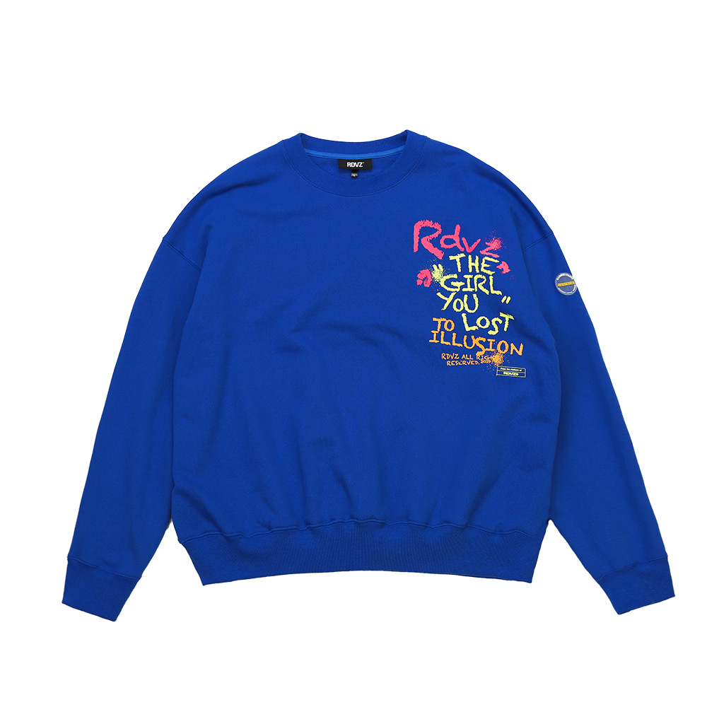 랑데부 CRAYON SWEAT TOP BLUE