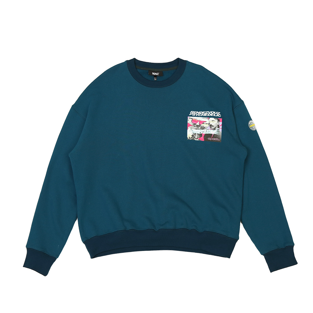 랑데부 PHOTO LOGO SWEAT TOP GREEN