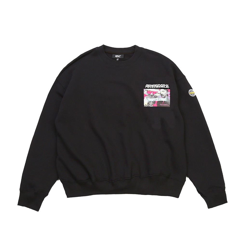 랑데부 PHOTO LOGO SWEAT TOP BLACK