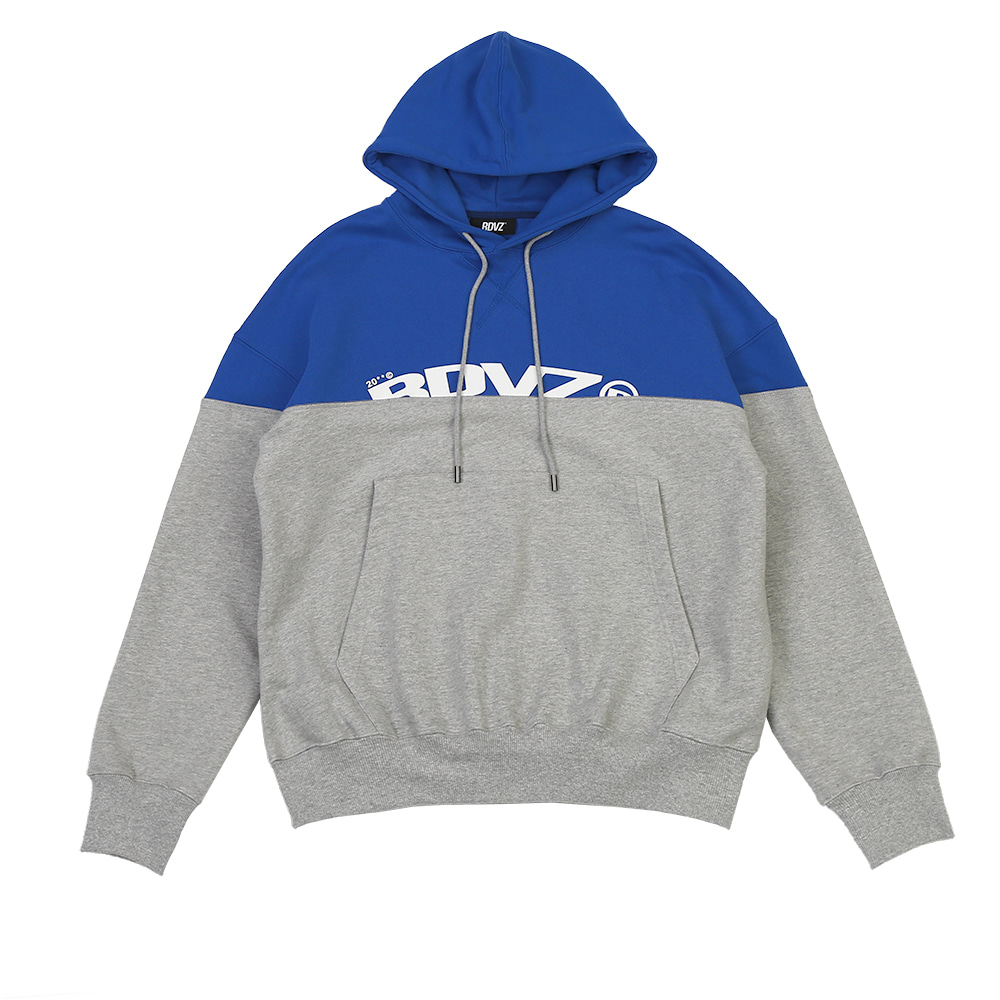 랑데부 TWO TONE BLOCK HOODIE BLUE/GREY