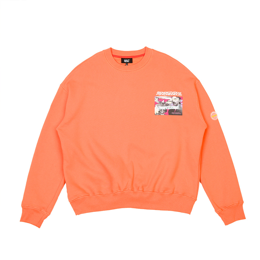 랑데부 PHOTO LOGO SWEAT TOP NEON ORANGE