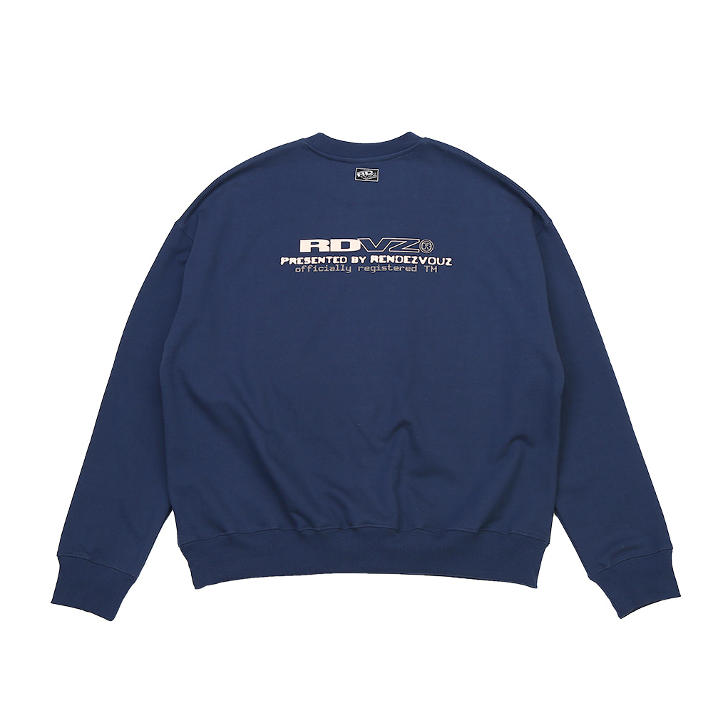 랑데부 CONTRAST LOGO SWEAT TOP BLUEGREY