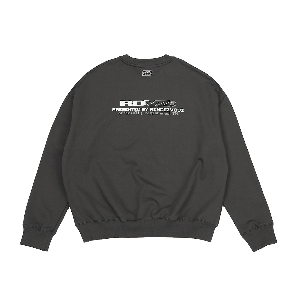 랑데부 CONTRAST LOGO SWEAT TOP CHARCOAL