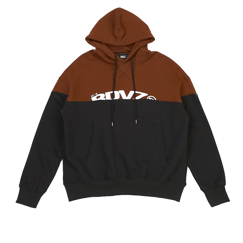랑데부 TWO TONE BLOCK HOODIE BROWN/BLACK