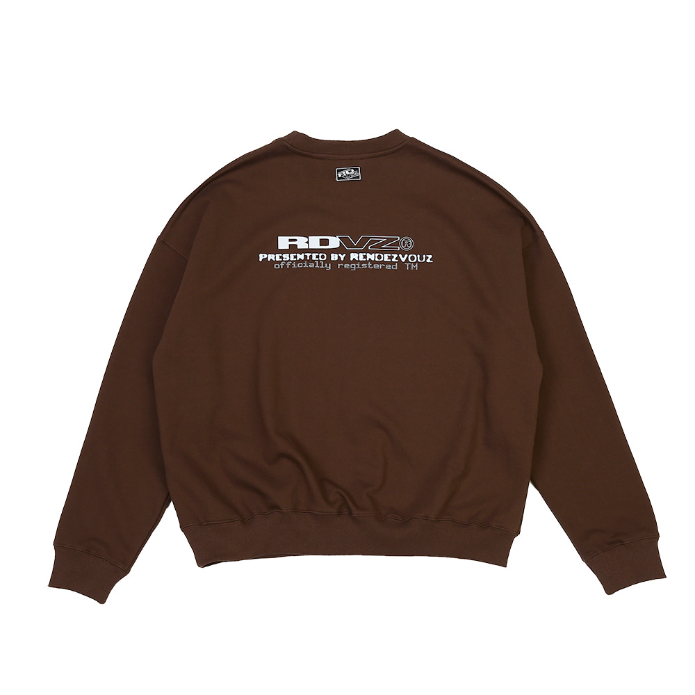 랑데부 CONTRAST LOGO SWEAT TOP BROWN