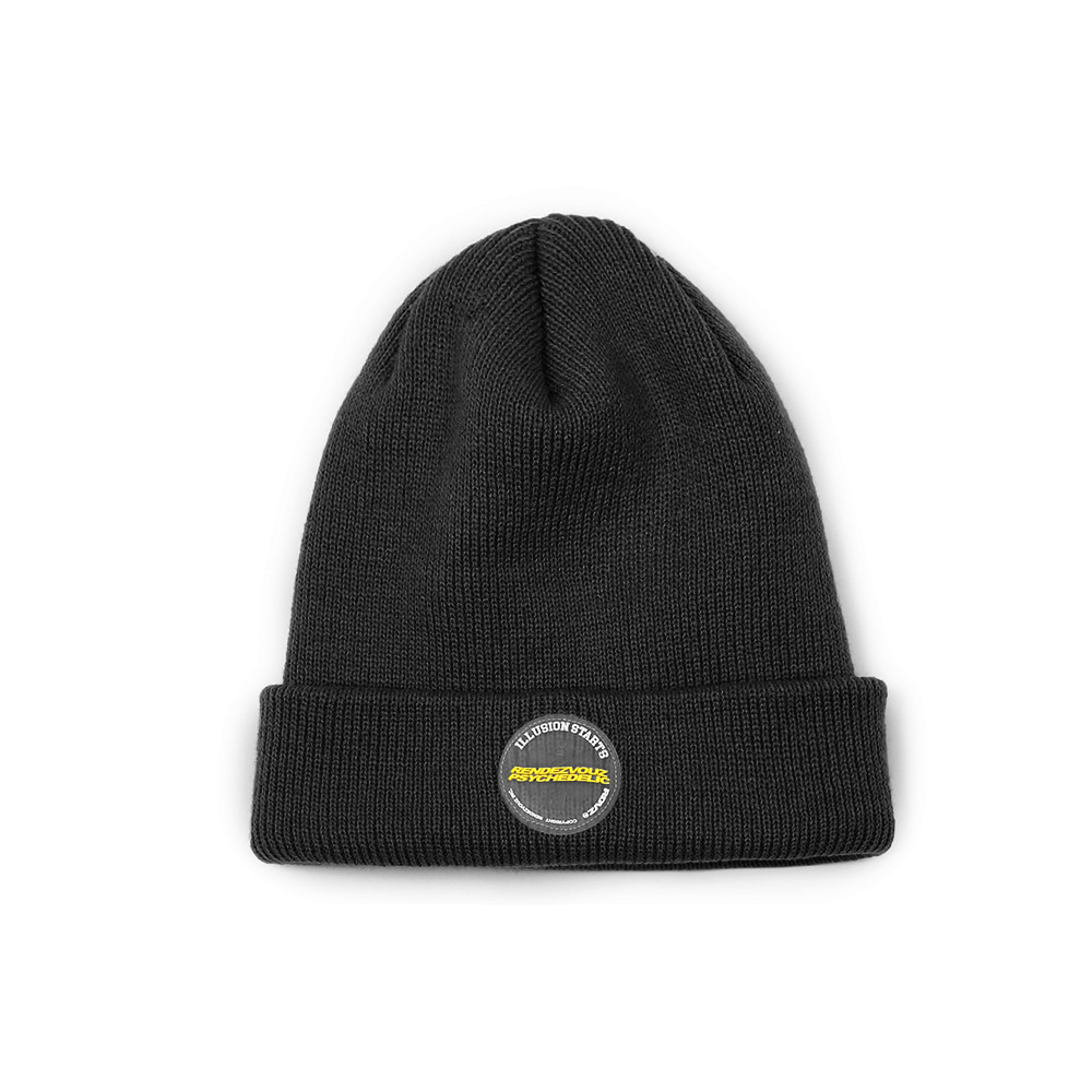 랑데부 CIRCLE LABEL BEANIE BLACK
