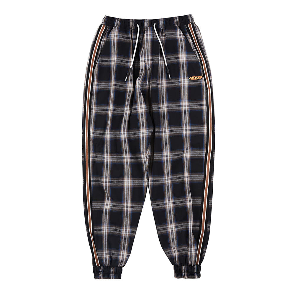 랑데부 CHECK LOUNGE JOGGER PANTS BLACK