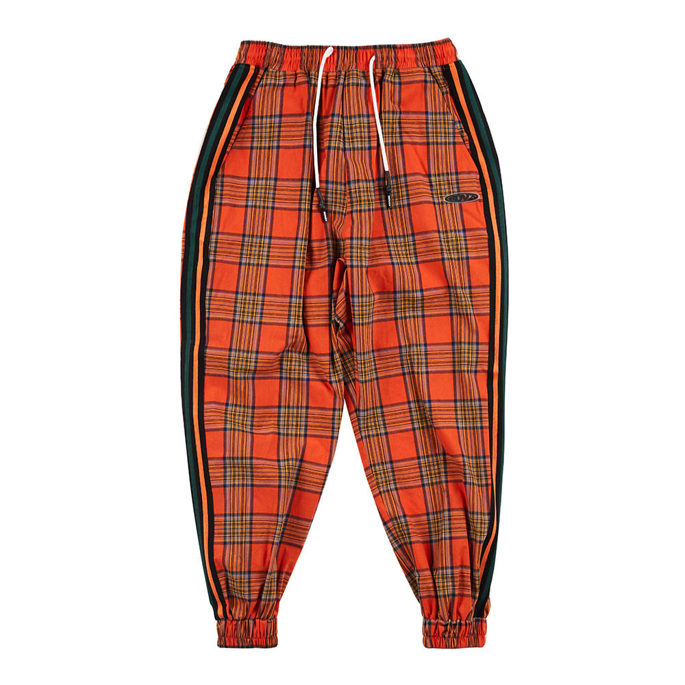 랑데부 CHECK LOUNGE JOGGER PANTS ORANGE