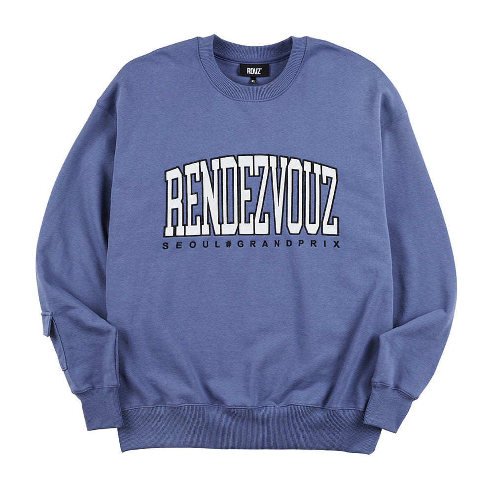 랑데부 APPLIQUE SWEAT TOP BLUE GREY