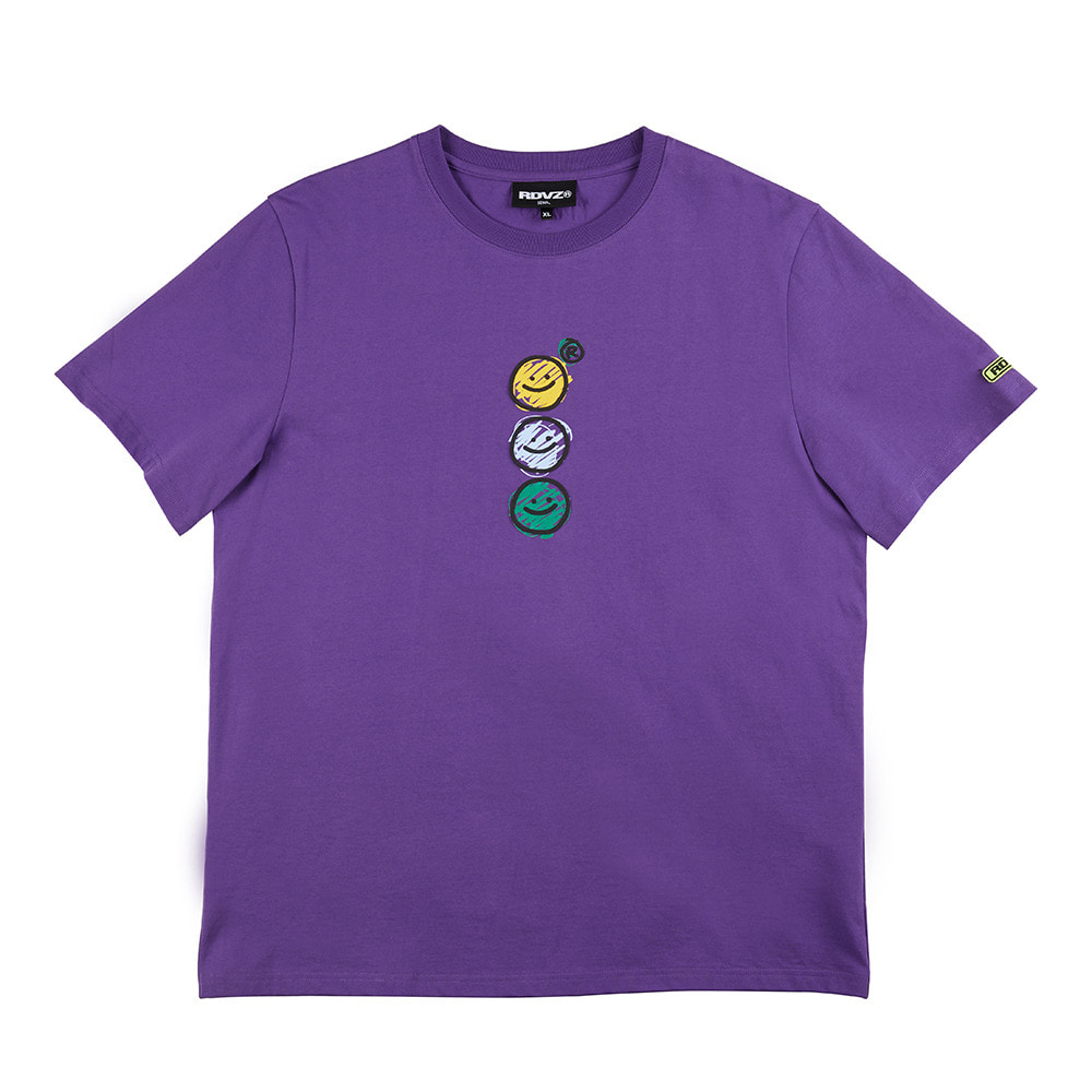 랑데부 TRIPLE SMILING T-SHIRT PURPLE