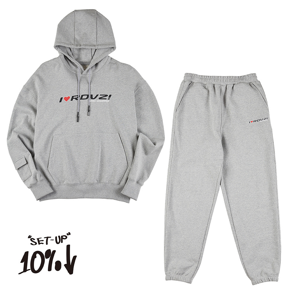 랑데부 I LOVE RDVZ SWEAT SET GREY