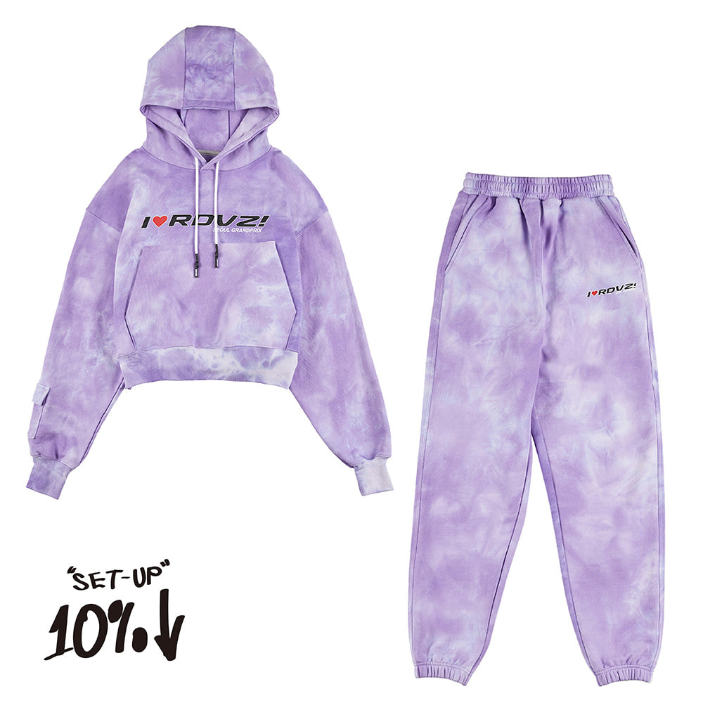 랑데부 I LOVE RDVZ SWEAT SET TIE DYE