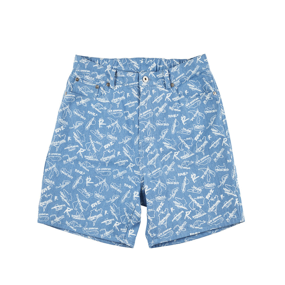 랑데부 TRACK PRINTING DENIM SHORTS