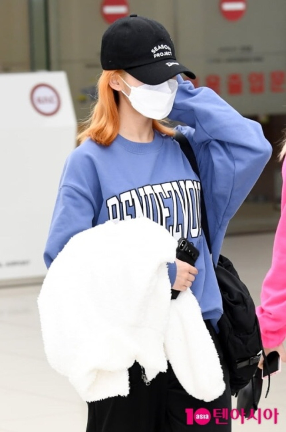 "랑데부 ""트와이스 사나"".  RDVZ®  20SS  APPLIQUE SWEAT TOP BLUE GREY"