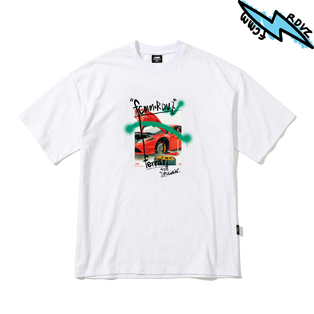 랑데부 SUPERCAR PHOTO T-SHIRT WHITE