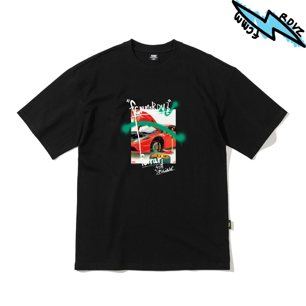 랑데부 SUPERCAR PHOTO T-SHIRT BLACK