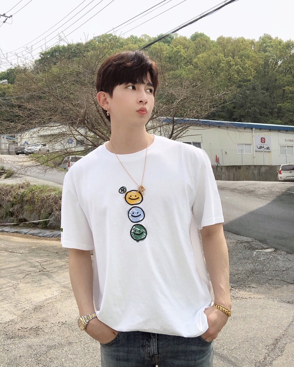 "랑데부 ""유키스 기섭"".RDVZ®  20SS TRIPLE SMILING T-SHIRT WHITE"
