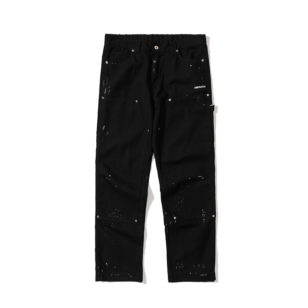 랑데부 DISTRESSED DETAIL PANEL PANTS BLACK