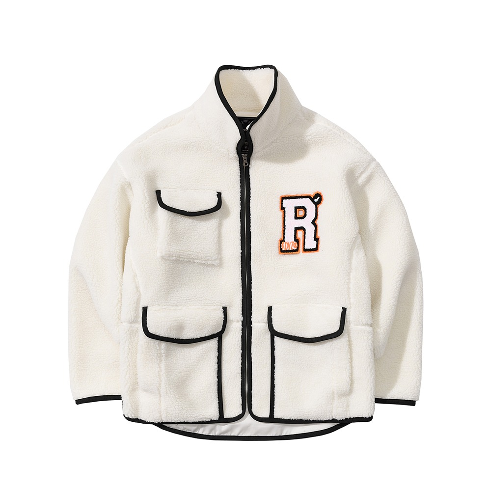 랑데부 R LOGO COLLAR FLEECE JACKET IVORY