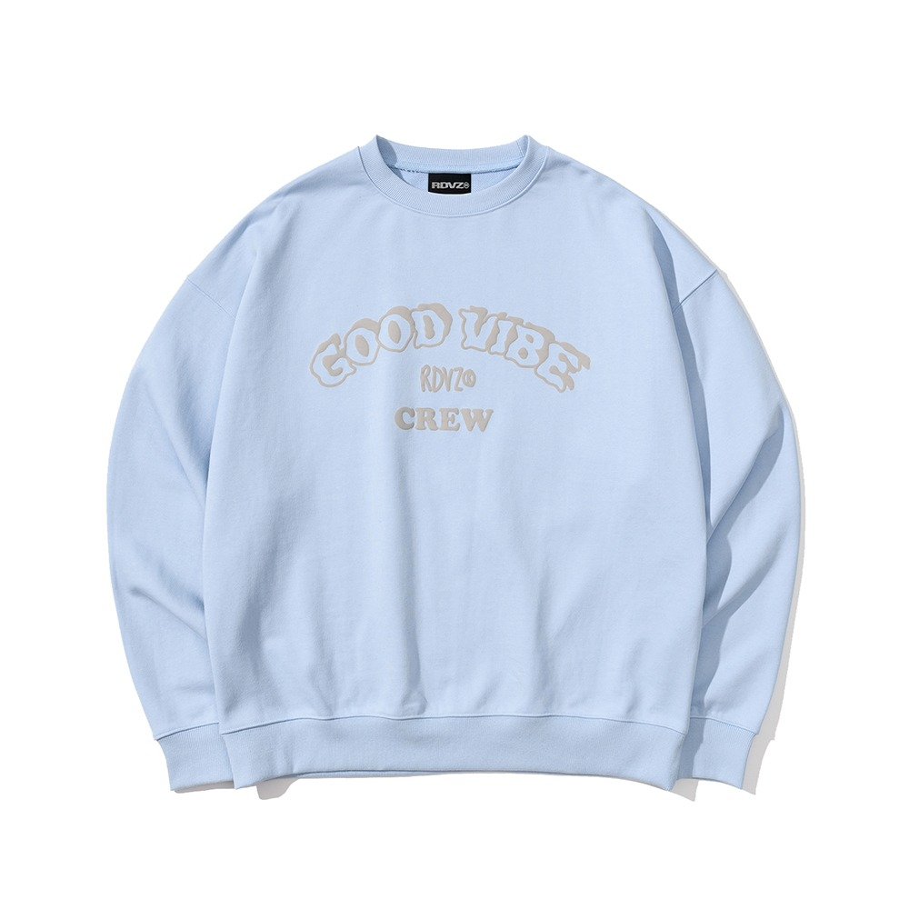 랑데부 GOOD VIBE CREW SWEAT TOP SKYBLUE