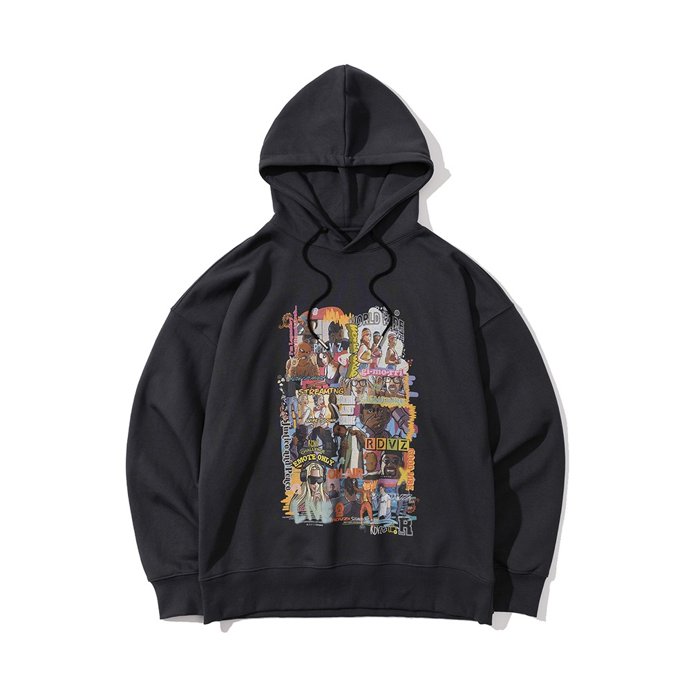 랑데부 INFLUENCER CARTOON HOODIE CHARCOAL