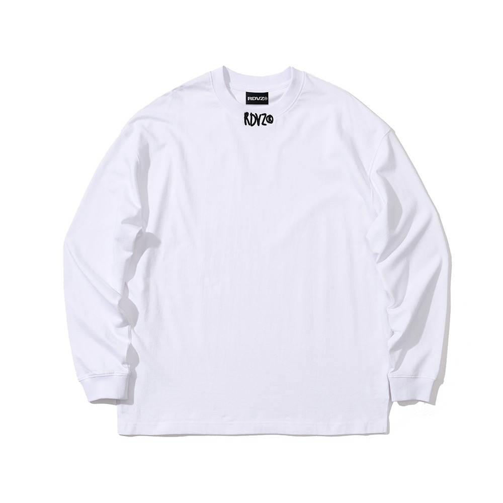 랑데부 NECK CROSS LOGO LONGSLEEVE WHITE