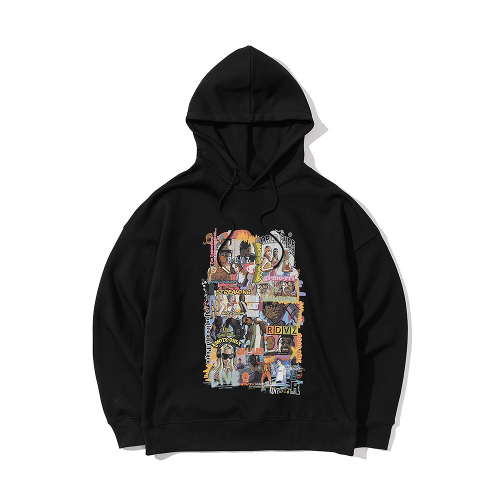 랑데부 INFLUENCER CARTOON HOODIE BLACK