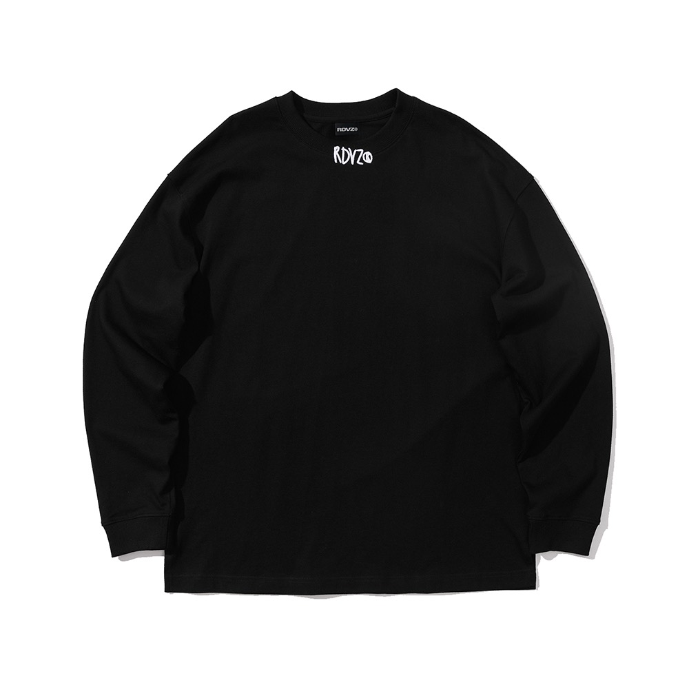 랑데부 NECK CROSS LOGO LONGSLEEVE BLACK