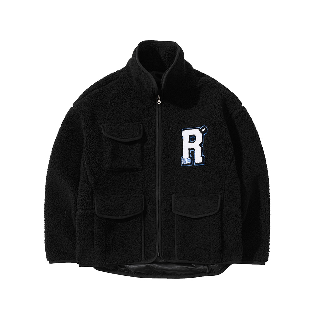 랑데부 R LOGO COLLAR FLEECE JACKET BLACK