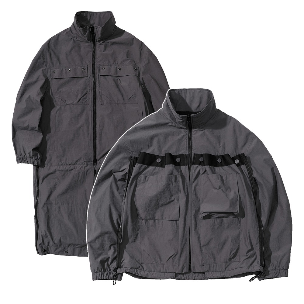 랑데부 TECHNICAL TRANSFORM WIND JACKET CHARCOAL