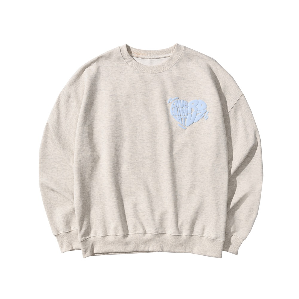 랑데부 [ONEHUNNNITxRDVZ] COLLABORATION LOGO SWEAT TOP OATMEAL