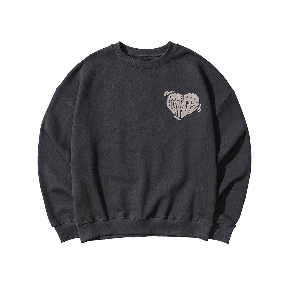랑데부 [ONEHUNNNITxRDVZ] COLLABORATION LOGO SWEAT TOP CHARCOAL