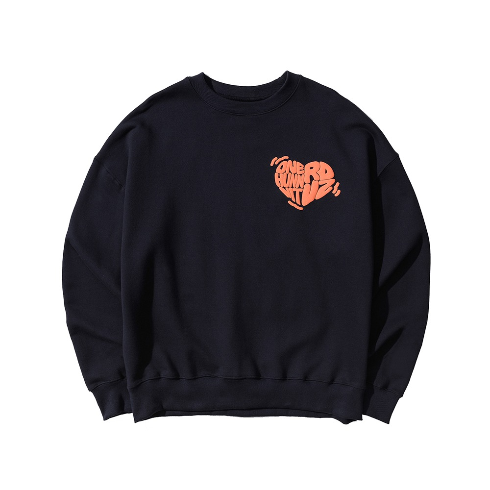 랑데부 [ONEHUNNNITxRDVZ] COLLABORATION LOGO SWEAT TOP NAVY