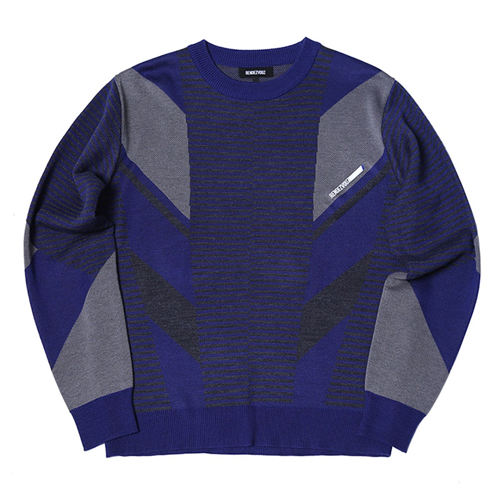 랑데부 Diagonal Patterned Knit Blue