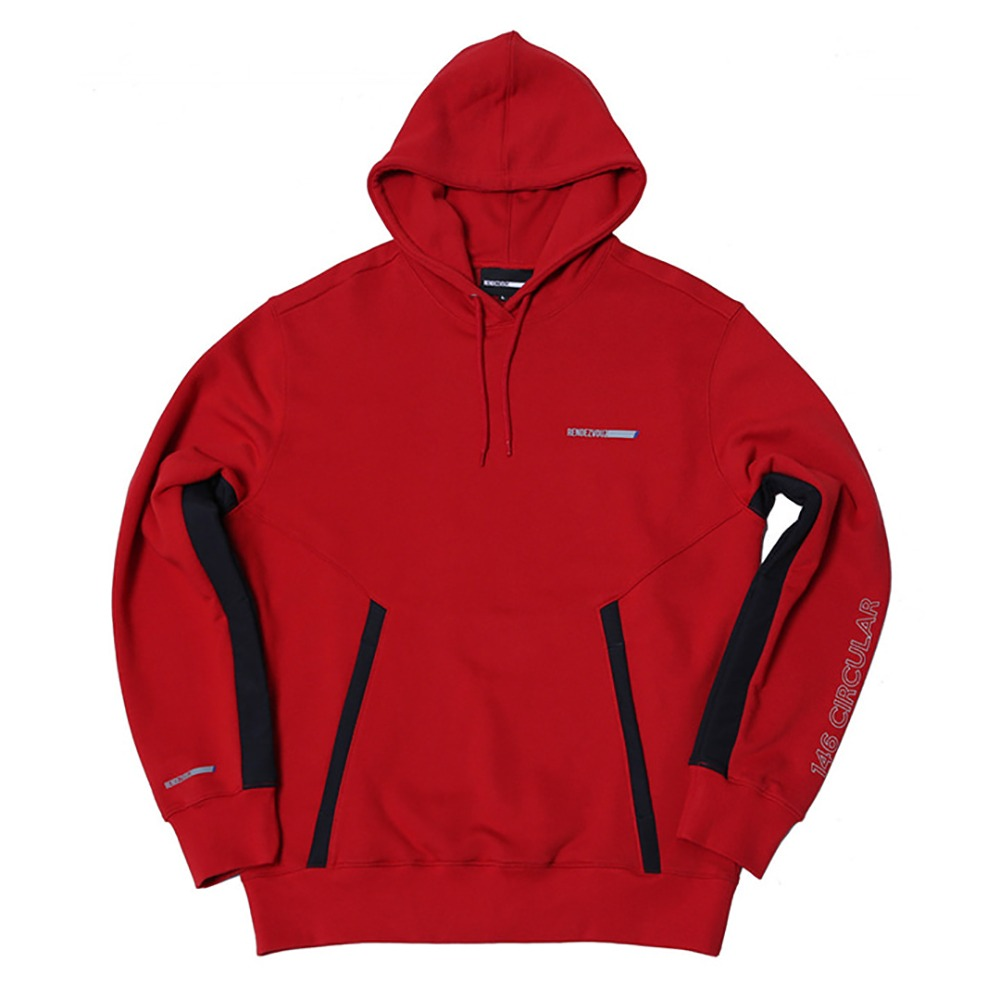 랑데부 Pocket Block Oversized Hoodie Red