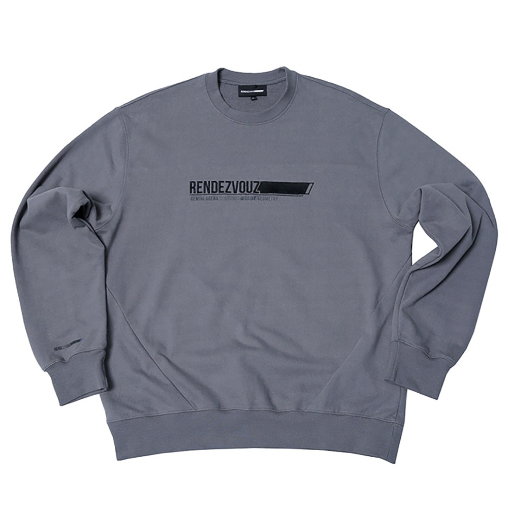 랑데부 Horizontal Block Sweat Top Grey