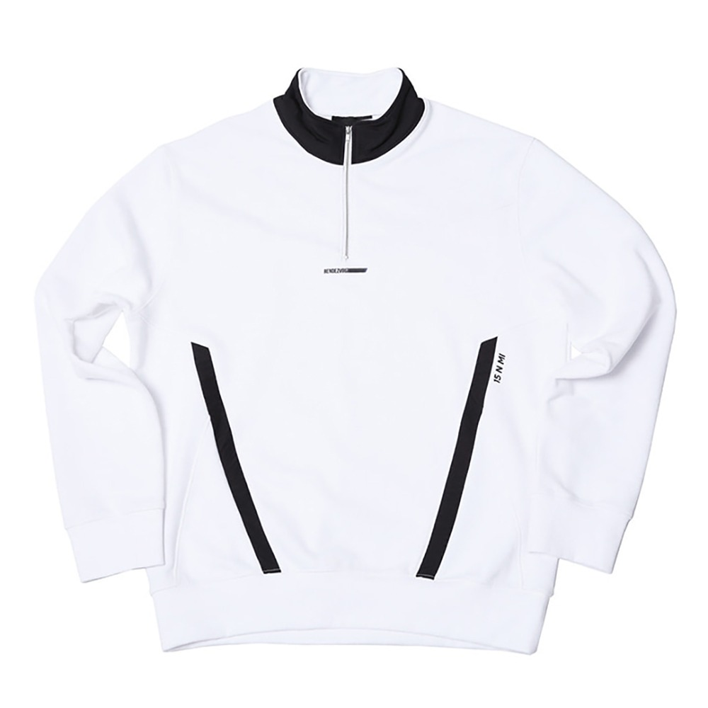 랑데부 Pocket Block Sweat Zip Up White