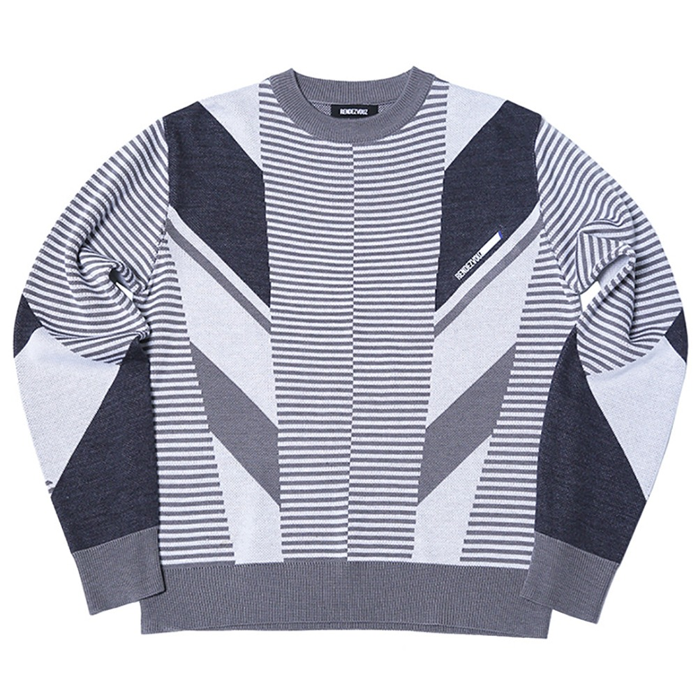 랑데부 Diagonal Patterned Knit White