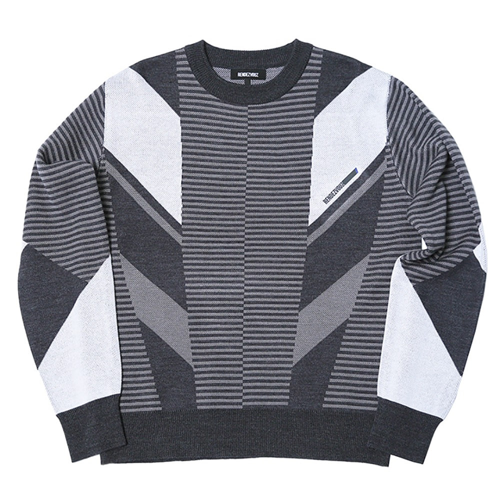랑데부 Diagonal Patterned Knit Charcoal